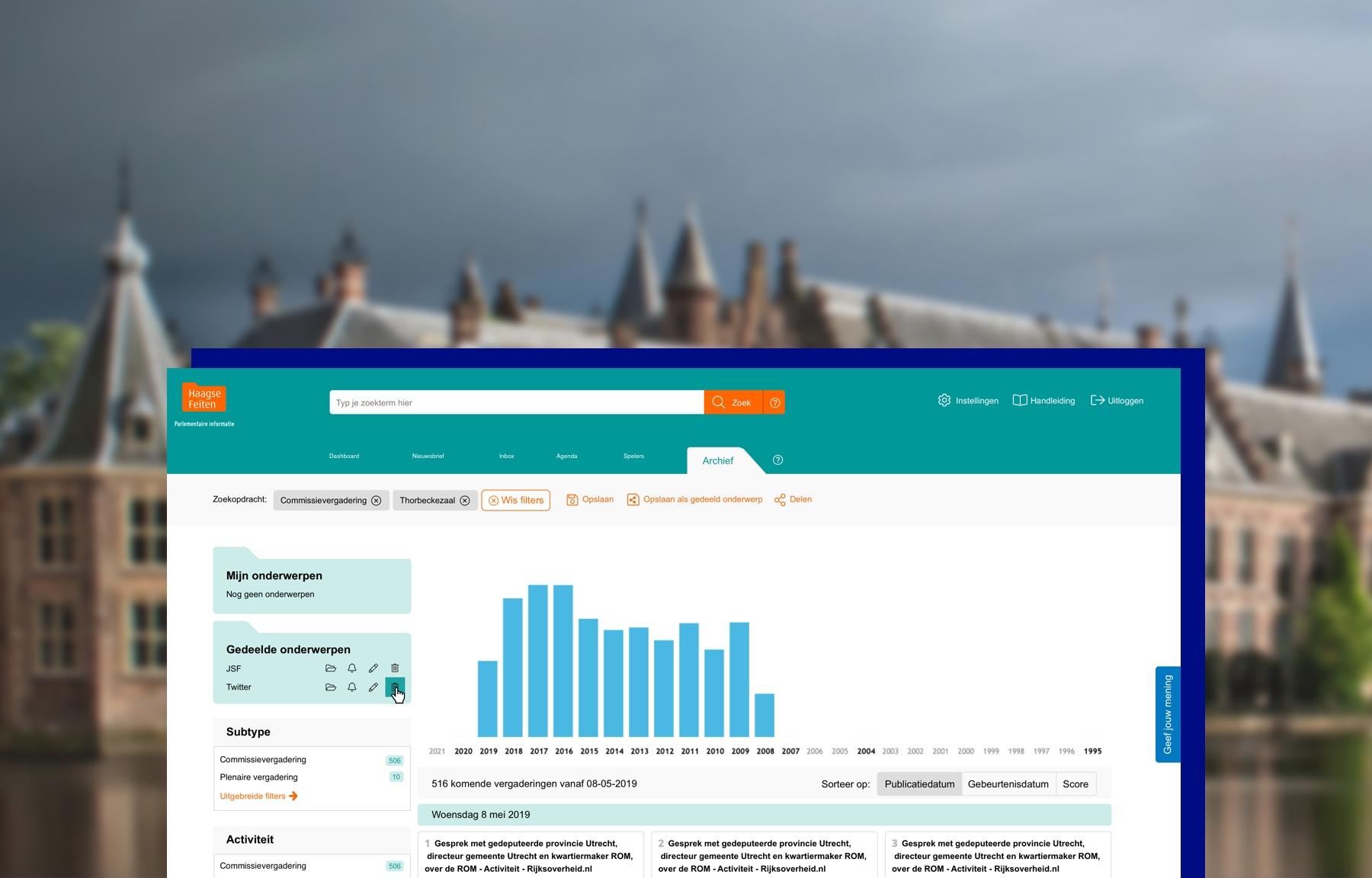 Screenshot van het dashboard van Haagse Feiten