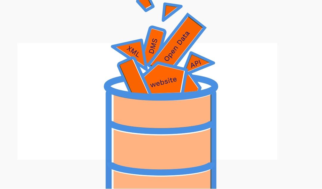 Sfeerbeeld van data stukjes die verzameld worden in een vat