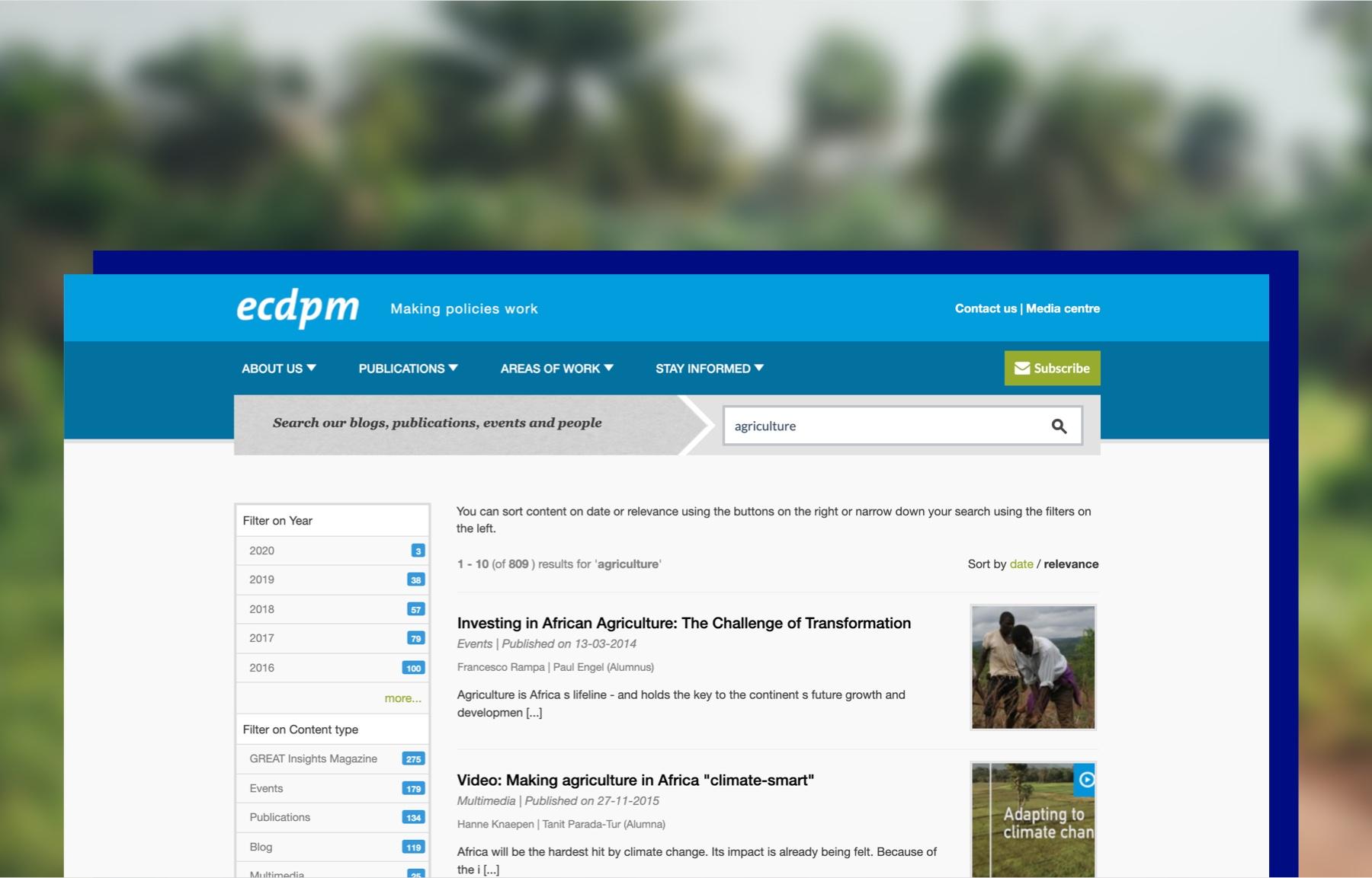 Screenshot ECDPM zoekresultatenpagina