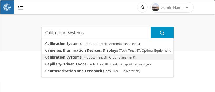 Screenshot ESA taxonomy search