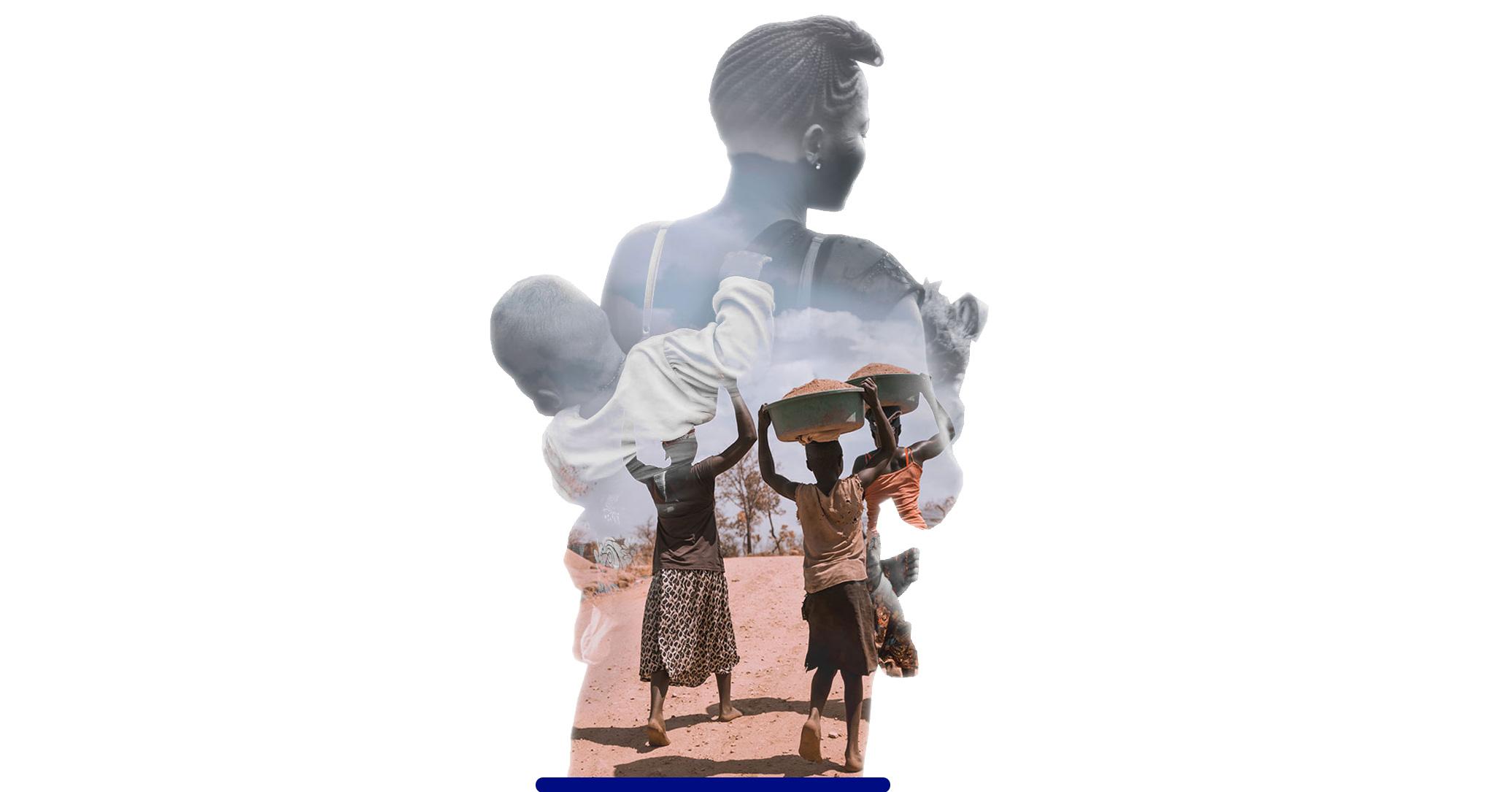 Sfeerbeeld Afrikaanse vrouw met baby