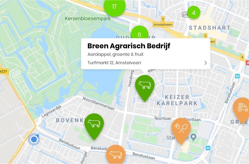 Screenshot Voedsel Verbindt Bedrijven op de kaart